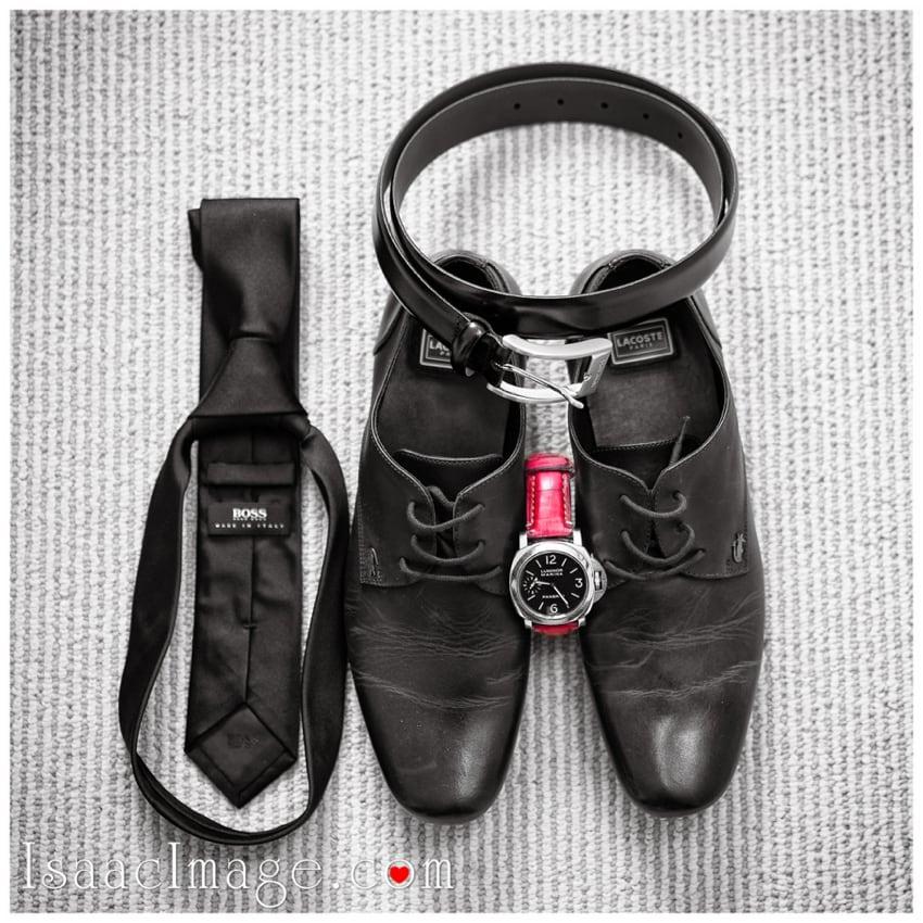 grooms shoes belt watches tie